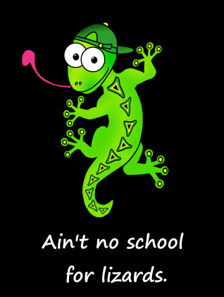 lizard school JAMAICAN with black background