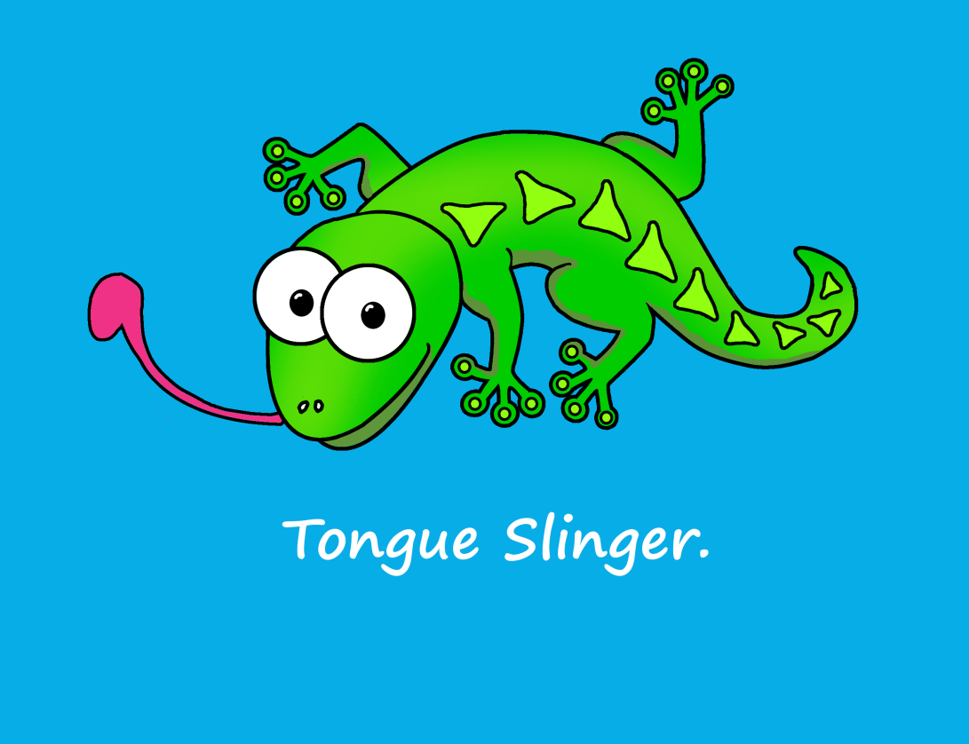 Tongue slinger on blue